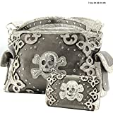 Western Concealed Carry Gun Skull Bones Handbag Purse Matching Wallet