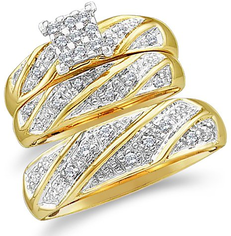 For sale Size – 10.5 – 10k Yellow and White 2 Two Tone Gold Mens and Ladies Couple His & Hers Trio 3 Three Ring Bridal Matching Engagement Wedding Ring Band Set – Round Diamonds – Princess Shape Center Setting (1/4 cttw)