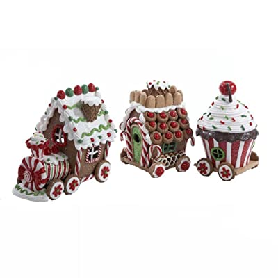 Kurt Adler 4.3-Inch Claydough 3D LED Gingerbread Train Set of 3-Pieces