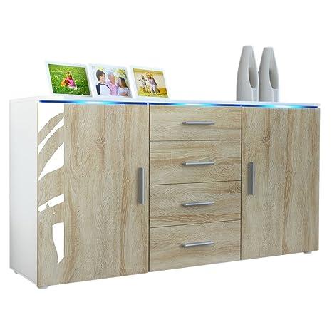 Buffet meuble TV Faro en Blanc mat / Chêne brut