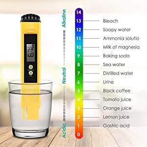 VANTAKOOL Digital PH Meter, PH Meter - 0.01 PH High Accuracy Water Quality Tester with 0-14 PH Measurement Range for Household Drinking, Pool and Aquarium Water, PH Tester Design with ATC (Color: Yellow)