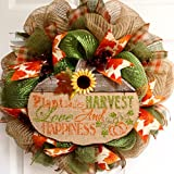 Autumn Inspirational Handmade Deco Mesh Wreath 20 Inches
