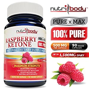 Nutribody 100 Pure Raspberry Ketones - 500mg Per Capsule 90 Vegetarian Capsules 30 Days Supply Of 1500mg Maximum Strength Natural Weight Loss Supplement Appetite Suppressant Fat Burner Natural Antioxidants Exceeds Dr Ozs Recommendations 100 Money Back Gua