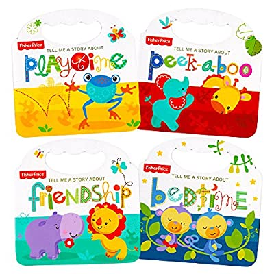 "Fisher Price ""My First Books"" Set of 4 Baby Toddler Board Books (Bedtime, Playtime, Friendship and Peek-a-Boo!)"