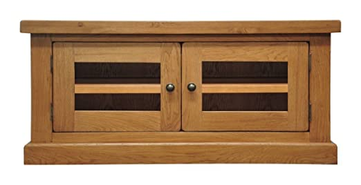 "Bakersfield Oak 2 Door Small TV Cabinet with Shelf in Light Oak Finish 100cm | 42"" Screen Size 