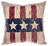 Boston International American Flag Throw Pillow, 10-Inch, God Bless Star