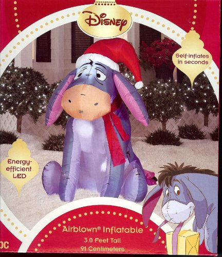 Disney 3' Eeyore Christmas LED Airblown Inflatable by Gemmy Yard Decor