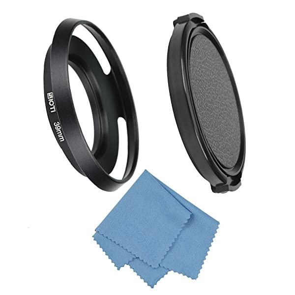 SIOTI Filmy Wide Angle Vented Metal Lens Hood with Cleaning Cloth and Lens Cap Compatible with Leica/Fuji/Nikon/Canon/Samsung Standard Thread Lens (Color: Wide Angle Vented, Tamaño: 39mm)