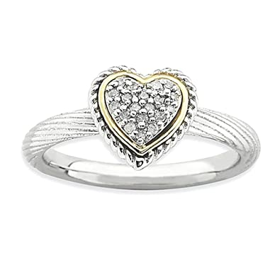 Sterling Silver & 14k Stackable Expressions Diamond Heart Ring