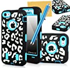OMIU(TM) Leopard Print High Impact Hybrid Armor Defender Hard Soft Silicone Back Case Cover Combo For iPhone 5C(Light Blue Inner Skin)