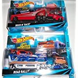 (2) Hot Wheels Truck And Trailers With Car INcluded/ Road Rally/ Rock N Race