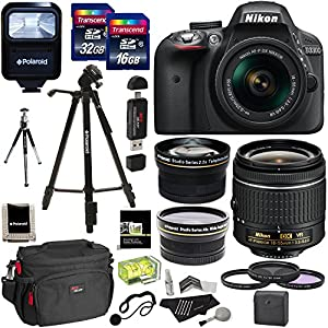Nikon D3300 AF-P Digital SLR Camera with 18-55mm DX VR II Zoom Lens, Transcend 32GB, 16GB, Polaroid .43x Wide Angle & 2.2X Lenses, Filter Kit & Accessory Bundle International Version No Warranty