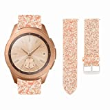 AKOPUGA Compatible with Galaxy Gear S2 Watch Bands 20mm/42mm Shiny Leather Strap Glitter Sparkling Wristband for Samsung Galaxy Watch 42mm/S2 Classic Smartwatch/SM-R810/SM-R815 (Rose Gold 20mm/42mm) (Color: S Rose gold)