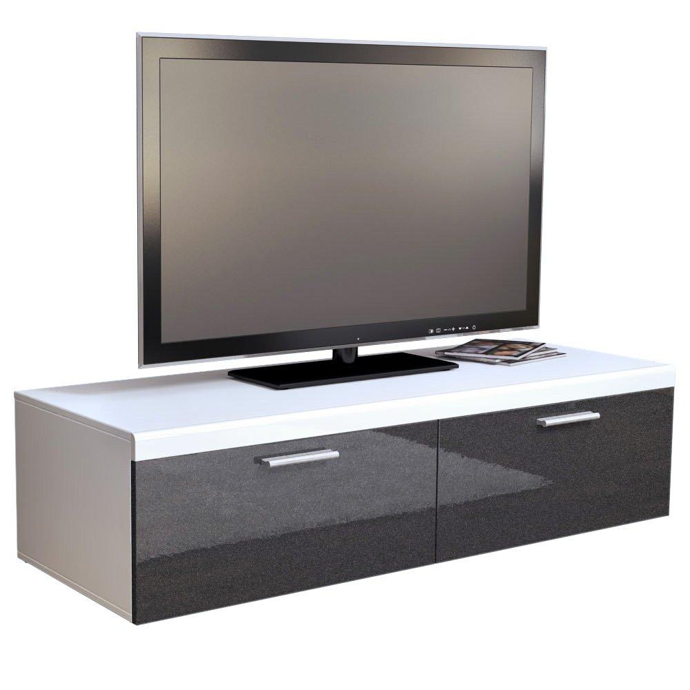 TV Stand Unit Atlanta in White / Black metallic High Gloss       Customer reviews and more description