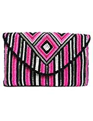 A STUNNING BEADED PINK COLORED CLUTCH BAG