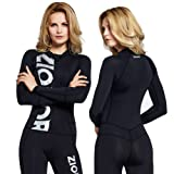 ZIONOR Full Body Sport Rash Guard Dive Skin Suit for Swimming Snorkeling Diving Surfing with UV Sun Protection Long-sleeve for Women (Color: Black, Tamaño: Female-M)
