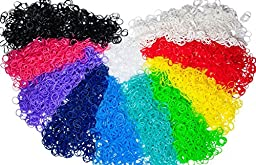 Loom Bands - 6000 Piece Monster Size Kit - Rubber Band Bracelet Refill Packs with Over 200 Clips (10 Rainbow Loom Bands Colors - Red, Yellow, Green, Blue, Pink, Purple, Black, White, Turquoise, and Orange) - Compatible with All Looms - Individually Wrappe