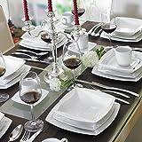 LAVAZZA HOME Series Genoveva 30-Piece Round Sides Square Cream White Porcelain Dinner Set with 6-Piece Cups 6-Piece Saucers 6-Piece Dessert Plates 6-Piece Soup Plates and 6-Piece Flat Plates