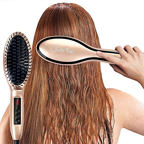 Care me Electric Ceramic Hair Straightening Brush Ionic for Frizz-Free, Straight, Smooth, Shiny & Healthy Hair - Best Hot Styling Anti-Frizz Hair Straightener Brush + Detangling Comb