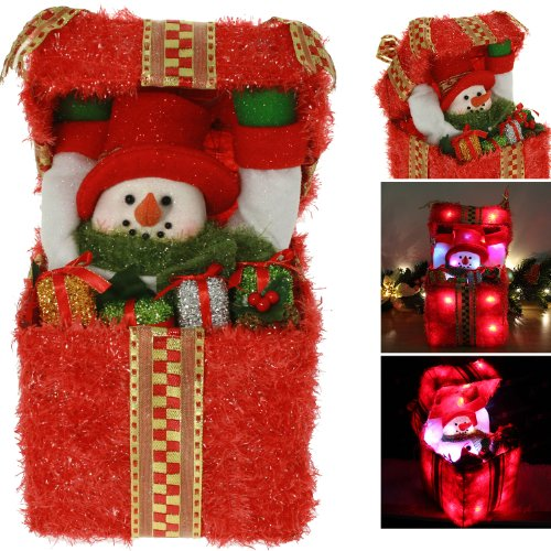 Pre-Lit Snowman Surprise Giftbox Christmas Table / Floor Decoration Illuminated with 24 Colour Changing LED Lights - Height 36cm