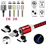 UGI 3 in 1 Magnetic Cable Micro USB Type C Lightning [6.6FT/2.4A] Fast Charging Android USB C Cord for Apple iPhone X 8 7 8 Plus 6 6s 5 se 5s Huawei Samsung Galaxy S4 S5 S6 S7 S8 S9 Plus Edge (Red) (Color: 3 in 1 / Round / 6.6 feet / Red)