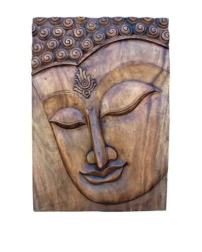 Asian Art Imports Carved Buddha Panel