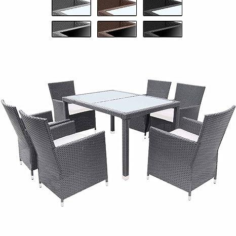 Miadomodo Elegante 13-teilige Polyrattan Sitzgarnitur Gartenmöbel Set in der Farbe Ihrer Wahl inkl. Kissen und 2 Glasplatten in Schwarz oder Milchweiß