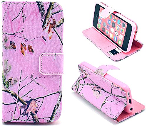 iphone 5C Case - Real Tree Camo Flip Wallet Credit ID Card Slot Holder Phone Case With Stand --Retail Package W Screen Protector --Pink