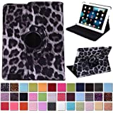 HDE 360° Rotating Leather Folio Case and Stand with Sleep/Wake Feature for iPad 2/3/4 (Gray Cheetah Print)