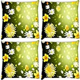Snoogg Floral Petals Pack Of 4 Digitally Printed Cushion Cover Pillows 12 X 12 Inch