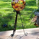 Tall Solar Black Metal Gazing Ball Stand