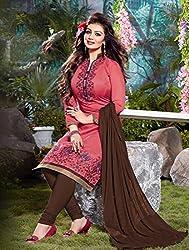 V-Kart Women's Cotton Unstitched Dress Material (Vkart_308_Pink_Free Size)