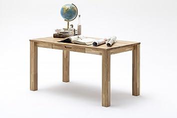 Dreams4Home Schreibtisch 'Faro' Holz massiv Tisch Computertisch, Buro, Arbeitszimmer, Kinderzimmer, Asteiche, Kernbuche geölt, Breite 135 cm, 3 Schubladen, Farbe:Asteiche