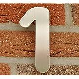 Hausnummer Nr. 1 - Edelstahl gebürstet - 15 cm - witterungsbeständig - einfache Montage