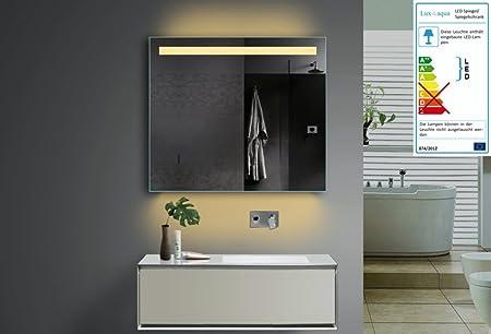 Lodovico Specchio da bagno LED illuminazione luce colore a scelta 1presa Telaio in alluminio 80x 70cm