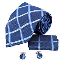 H6097 Blue Checkered Excellent Silk Neckie Cufflinks Hanky Set 3PT By Y&G