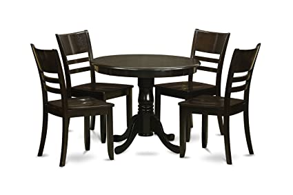 East West Furniture ANLY5-CAP-W 5-Piece Kitchen Table Set, Cappuccino Finish