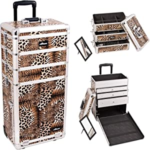 33.25 inch 4 in 1 Leopard Print Aluminum Finish Travel Rolling Wheeled Professional Makeup Organizer Trolley w/ 3 Detachable Trays + 3 Aluminum Drawers
