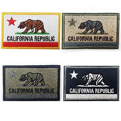 Bundle Four Pieces California Republic State Tactical Bear US Flag Patch Military Morale Velcro Patches CA Emblem by Prohouse (Ca Republic Patch compare prices)