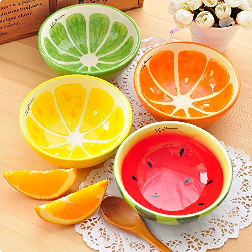 LOHOME(TM) A Lot 4 PCS 13CM Diameter Japan Creative Lovely Colorful Fruit Living Bowl Cute Soup Bowl Lively Rice Bowl Deluxe Pure Hand-painted Ceramic Bowl Children Suit Tableware (Creative Fruit Bowl compare prices)