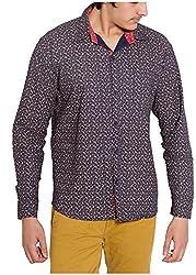 Oshano Men's Casual Shirt (OSH_029_xl, Blue and Yellow, xl)