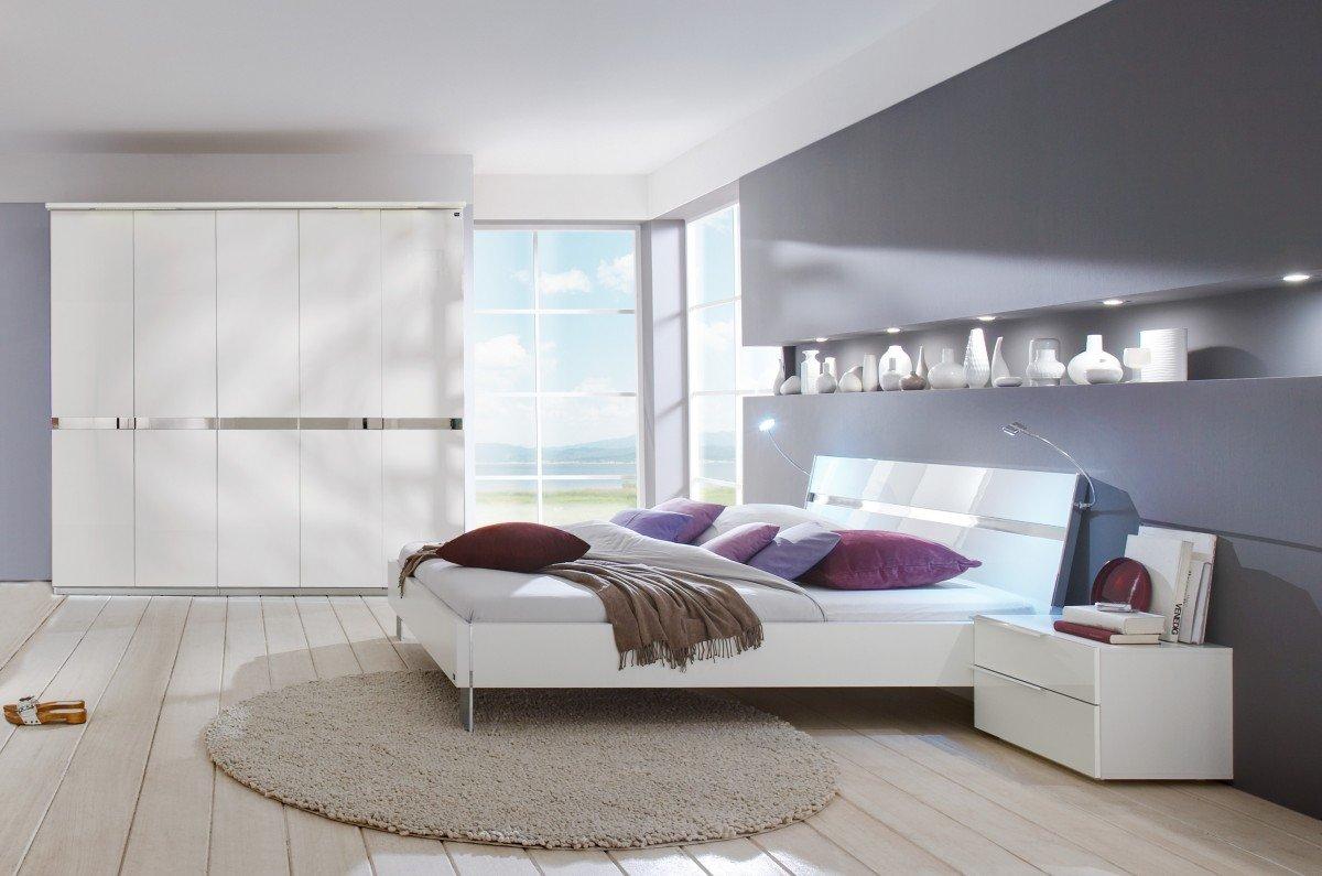 Dreams4Home Schlafzimmerkombination 'Andria' Schrank, Bett, 2 x Nachtschrank, Schlafzimmer komplett, weiß, Liegefläche:180×200 cm online bestellen