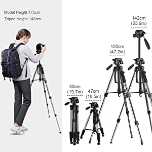K&F Concept 56''Compact Lightweight Travel Portable Camera Tripod with Phone Mount Holder for Cell Phone DSLR and OSMO Pocket (Tamaño: tripod for cameras and phone)