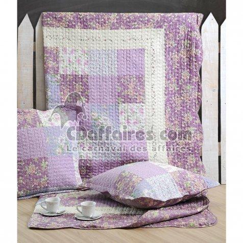 Lovely Casa P41249001 Violine Boutis - Colcha y 2 fundas de cojines (240 x 220 cm y 63 x 63 cm, poliéster), color violeta