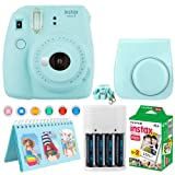 Fujifilm Instax Mini 9 Instant Camera (Ice Blue) + Fujifilm Instax Mini Twin Pack Instant Film (20 Exposures) + Camera Case + Scrapbooking Album + 4 AA Batteries & Charger + Colored Lens Filters (Color: Ice Blue)