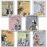 Famous Author Mini Educational Laminated Poster Series. English Literature Art Prints. Featuring: Toni Morrision, Sylvia Plath, Emily Dickinson, Edgar Allan Poe, J.D. Salinger, William Shakespeare, more