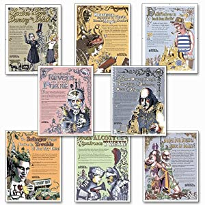 Famous Author Mini Educational Laminated Poster Series. English Literature Art Prints. Featuring: Toni Morrision, Sylvia Plath, Emily Dickinson, Edgar Allan Poe, J.D. Salinger, William Shakespeare, more