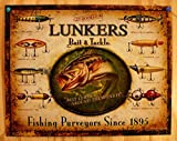 Lunker's Lures Bait and Tackle Distressed Retro Vintage Tin Sign
