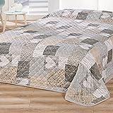 Delindo-Lifestyle-Tagesdecke-Bettberwurf-HERZEN-fr-Doppelbett-patchwork-braun-220x240-cm