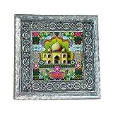 MJR Digital Print Carved White Metal Decorative Dry Fruits Box- Tajmahal - 5 x 5 inches.